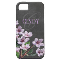 Chalkboard Lilac Watercolor Monogram designer iPhone 5 Cover