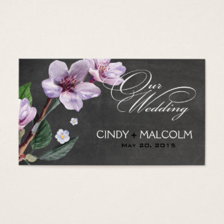 Chalkboard Lilac Watercolor Wedding Website Business Card