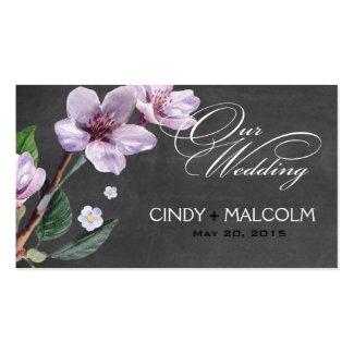 Chalkboard Lilac Watercolor Wedding Website Business Cards