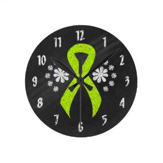 Chalkboard Lime Green Ribbon Round Clock