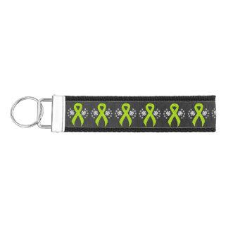 Chalkboard Lime Green Ribbon Wrist Keychain