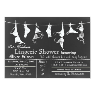 Chalkboard Lingerie Shower Invitatio Card