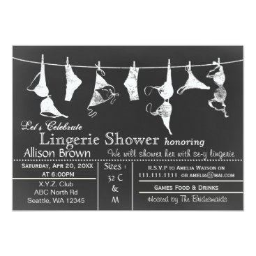 Chalkboard Lingerie Shower Invitatio Card
