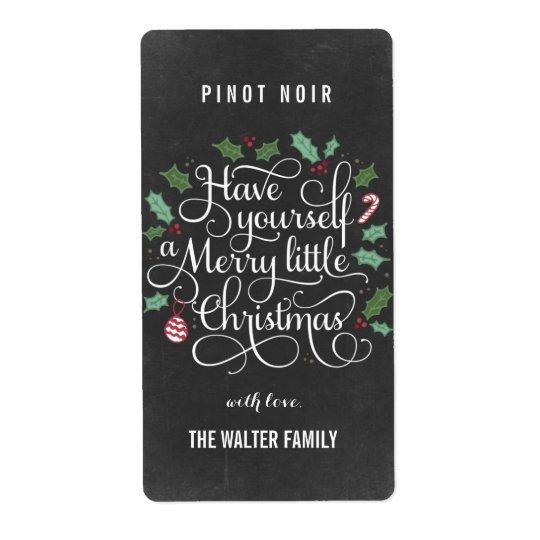 Chalkboard Little Christmas Wine Bottle Labels Zazzle Com
