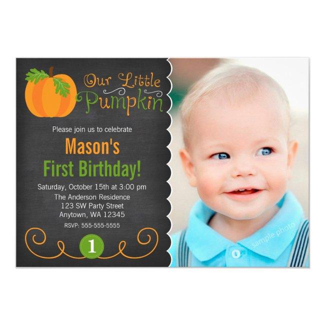 Chalkboard Little Pumpkin Green Orange Birthday Invitation