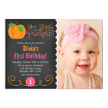 Chalkboard Little Pumpkin Pink Orange Birthday 5x7 Paper Invitation Card