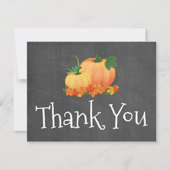 Chalkboard Little Pumpkin Thank You Card Zazzle Com