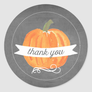 Chalkboard Little Pumpkin Thank You Stickers