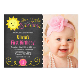 Chalkboard Little Sunshine Pink Yellow Birthday Card