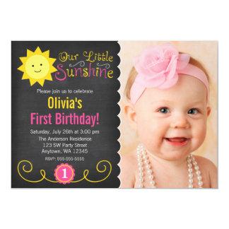 Chalkboard Little Sunshine Pink Yellow Birthday 5x7 Paper Invitation Card