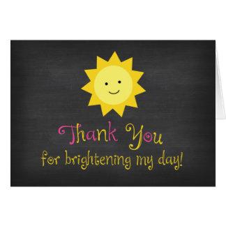 Chalkboard Little Sunshine Pink Yellow Thank You Card