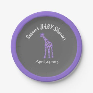 Chalkboard look baby shower - purple giraffe paper plate