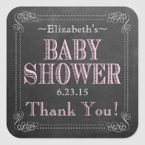 Chalkboard Look-Baby Shower Square Sticker