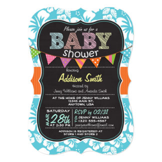 Chalkboard look Baby Shower; Tropical Blue 5x7 Paper Invitation Card