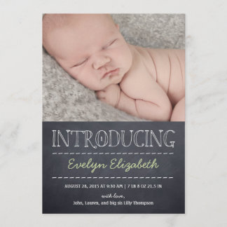 Chalkboard Look Birth Announcement - Green