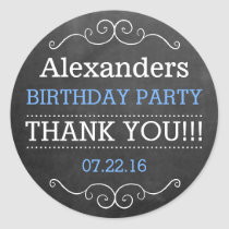 Chalkboard Look - Birthday Party Classic Round Sticker