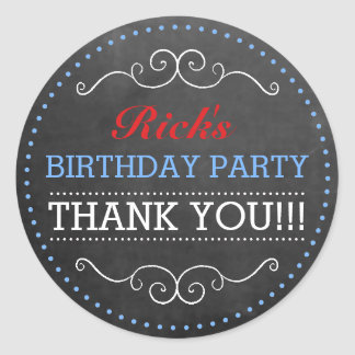 Chalkboard Look - Birthday Party Classic Round Sticker