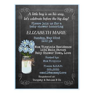 Chalkboard Look Blue Baby Shower Invitation | Postcard
