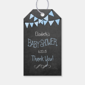Chalkboard Look Blue Bunting Flags Baby Shower Gift Tags