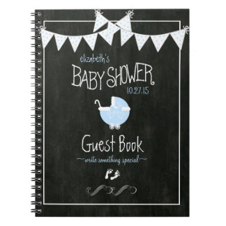 Chalkboard Look Bunting Blue Baby Shower Guestbook Spiral Notebook