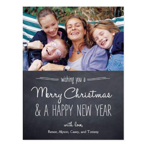 Chalkboard Look Christmas Photo Card Postcard