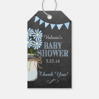 Chalkboard Look Country Mason Jar Blue Flowers Gift Tags
