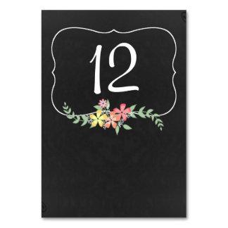 Chalkboard Look Floral Wedding Table Number Card