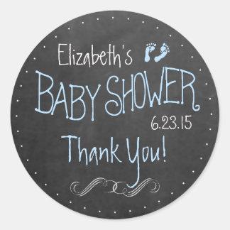 Chalkboard Look Footprints Blue Baby Shower Classic Round Sticker