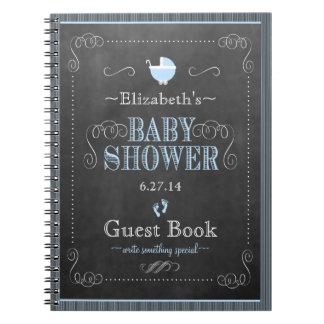 Chalkboard Look In Blue Baby Shower Guest Book- Spiral Notebook