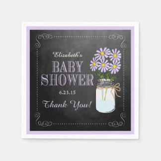 Chalkboard Look Lavender Mason Jar- Baby Shower Paper Napkin