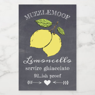 Chalkboard Look Limoncello Small Bottle Label |