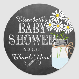 Chalkboard Look Mason Jar- Baby Shower Classic Round Sticker