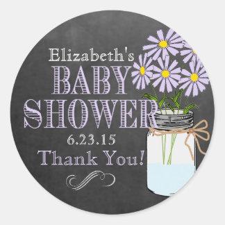Chalkboard Look Mason Jar- Baby Shower Stickers