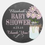 Chalkboard Look Mason Jar- Baby Shower Classic Round Sticker