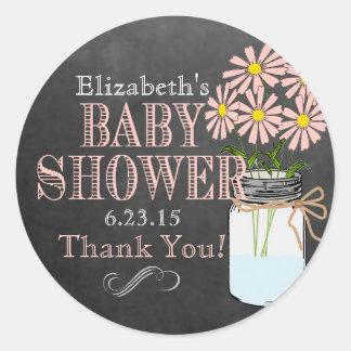 Chalkboard Look Mason Jar- Baby Shower Sticker