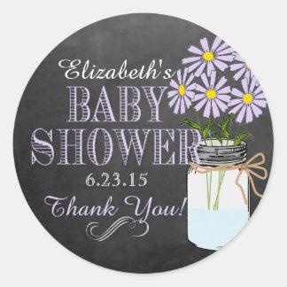 Chalkboard Look Mason Jar- Baby Shower Round Stickers