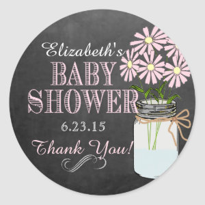 Chalkboard Look Mason Jar- Baby Shower Stickers