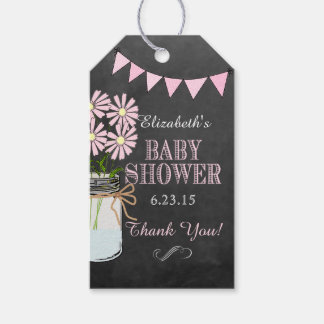 Chalkboard Look Mason Jar Pink Bunting Baby Shower Gift Tags