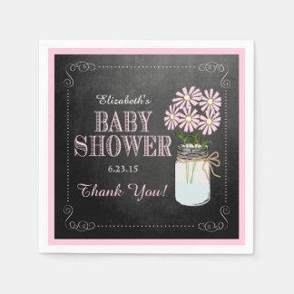 Chalkboard Look Mason Jar Pink Flowers Baby Shower Paper Napkin