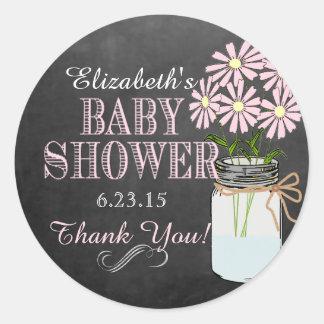 Chalkboard Look Mason Jar Pink Flowers Baby Shower Classic Round Sticker