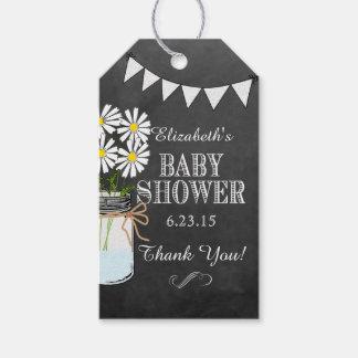Chalkboard Look Mason Jar White Flower Baby Shower Gift Tags