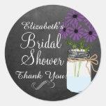 Chalkboard Look Mason Jar with Dark Purple Flowers Classic Round Sticker