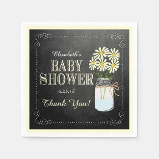 Chalkboard Look Mason Jar Yellow Baby Shower Napkin