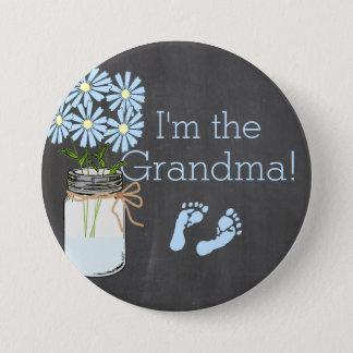 Chalkboard Look Masson Jar Blue I'm The Grandma Button