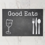 """Chalkboard Look Paper Place Mats<br><div class=""""desc"""">Fun rustic chalkboard look paper place mats with white graphics of a wine glass and silverware.  Good Eats in white text is ready to personalize to read what you want.  Fun for every day use.</div>"""