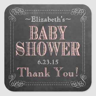 Chalkboard Look Peach Typography Baby Shower Favor Square Sticker