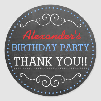 Chalkboard Look Personalized Birthday Party Classic Round Sticker