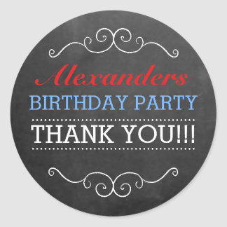 Chalkboard Look Red White Blue Birthday Party Classic Round Sticker