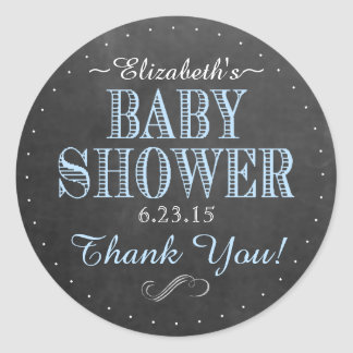 Chalkboard Look Vintage Typography Baby Shower Classic Round Sticker