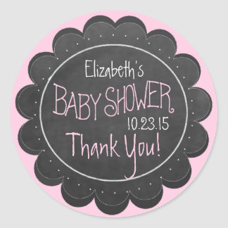 Chalkboard Look Whimsical Pink Baby Shower Favor Classic Round Sticker